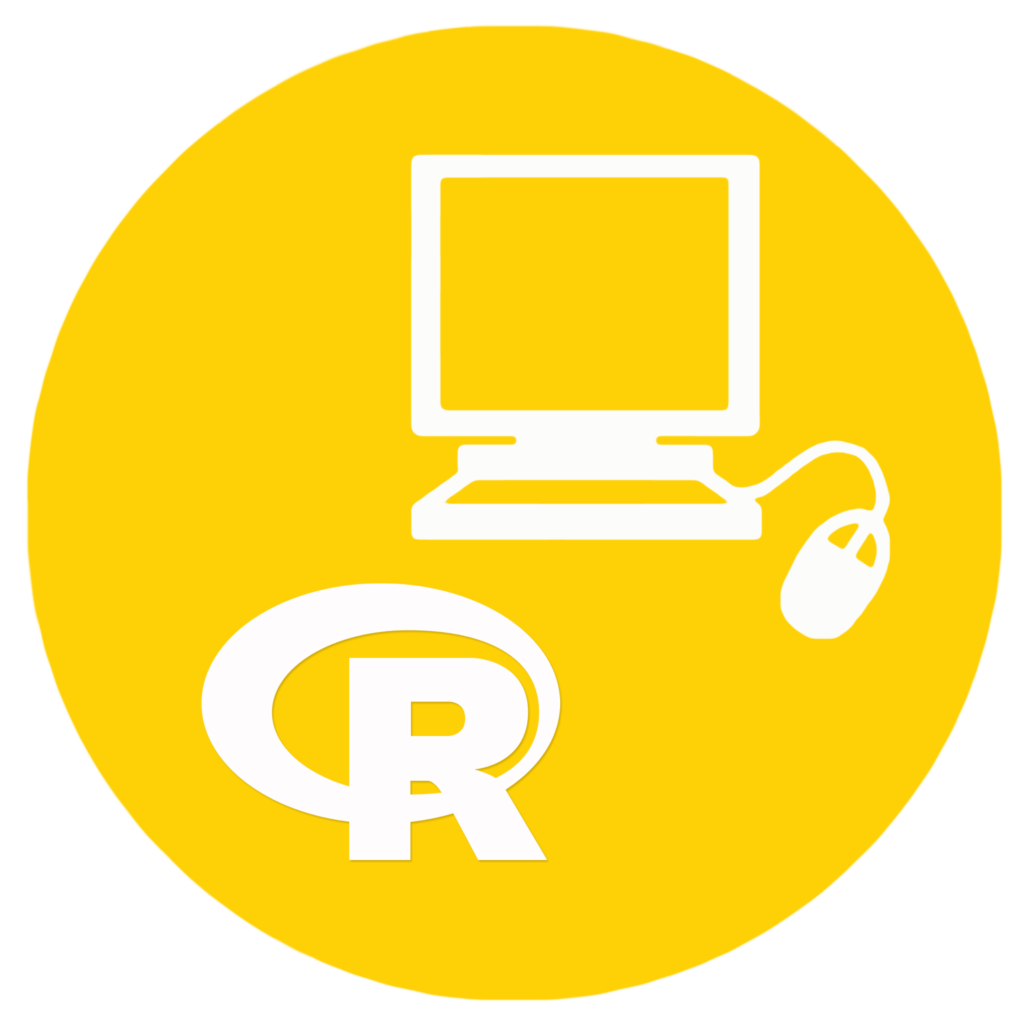 Logo of the data analysis service - represent a computer and the logo of the R program