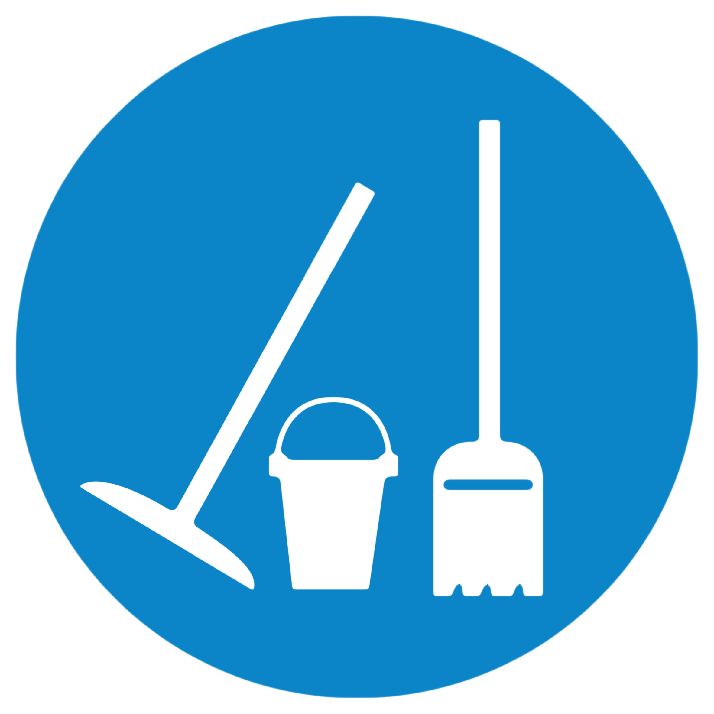 Logo of the data cleaning service - represent a bucket, broom and shovel